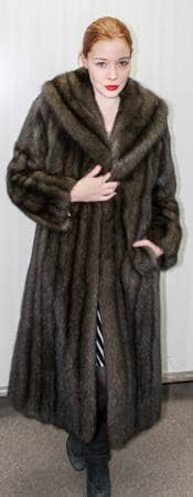 Russian Sable Fur coat Full Length Shawl Collar Straight Sleeves