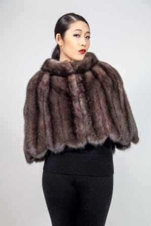 Evening Russian sable Fur cape Scalloped