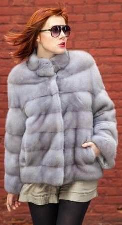 Sapphire Mink Fur Jacket Horizontal Stripes