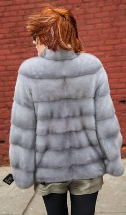Sapphire Mink Fur Jacket Horizontal Stripes nyc