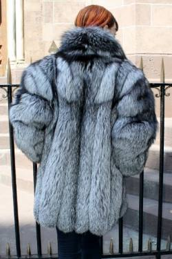 Marc Kaufman Furs Presents a preowned mint condition silver fox fur stroller from Marc Kaufman Furs New York,Argentina,United Kingdom,Austria,Denmark,Norway,Australia,Finland,Saudi Arabia,Oman,Kuwait,Jordan,Egypt