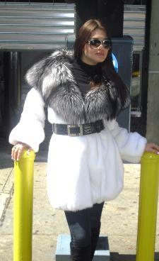 Fabulous White Mink Stroller Silver Fox Hood