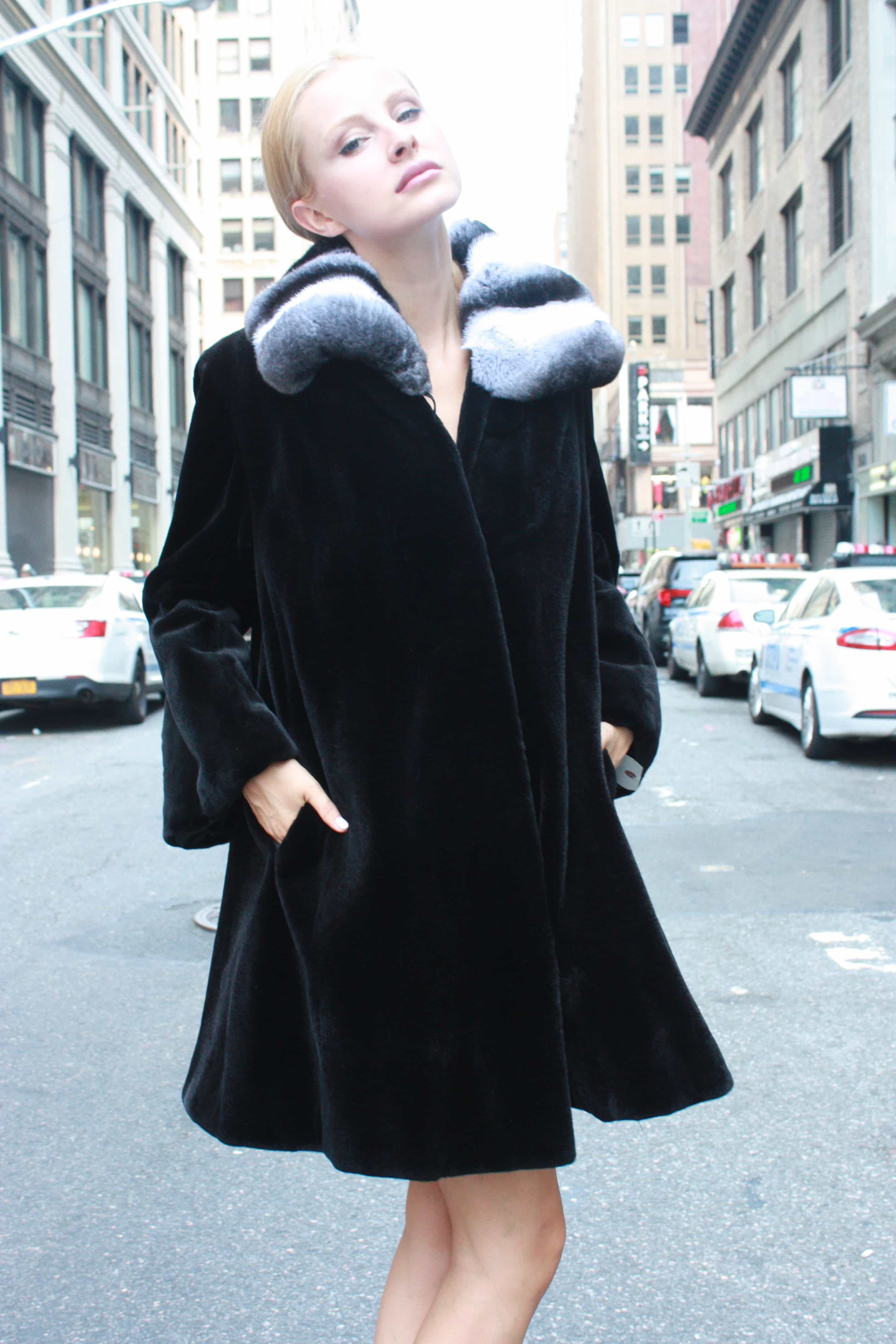Marc Kaufman Furs presents a black sheared mink fur stroller with chinchilla wing collar from Marc Kaufman Furs New York City,Fur coats in Argentina, fur coats in Chile, fur coats in Venezuela, fur coats in Australia, fur coats in Belgium,fur coats in Netherlands, fur coats in Norway,fur coats in Sweden,fur coats in Dubais,fur coats in Egypt,fur coats in Egypt,fur coats in Kuwait, fur coats in South Africa,fur coats in Tunisia,fur coats in the Falklands