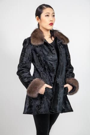 Classy Black Russian Broadtail Sable Fur Collar Cuffs