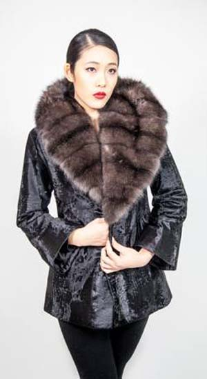 Marc Kaufman Furs presents a black Russian Broadtail Fur Jacket with wide Russian sable collar from Marc Kaufman Furs New York City,Fur coats in Baltimore, fur coats in Chicago, fur coats in Detroit, fur coats in Los Angeles, fur coats in Detroit, fur coats in orange county, fur coats in Atlanta, fur coats in Denver, fur coats in Dallas, fur coats in Seattle, fur coats in Portland, fur coats in Santiago, fur coats in Portugal, fur coats in Madrid