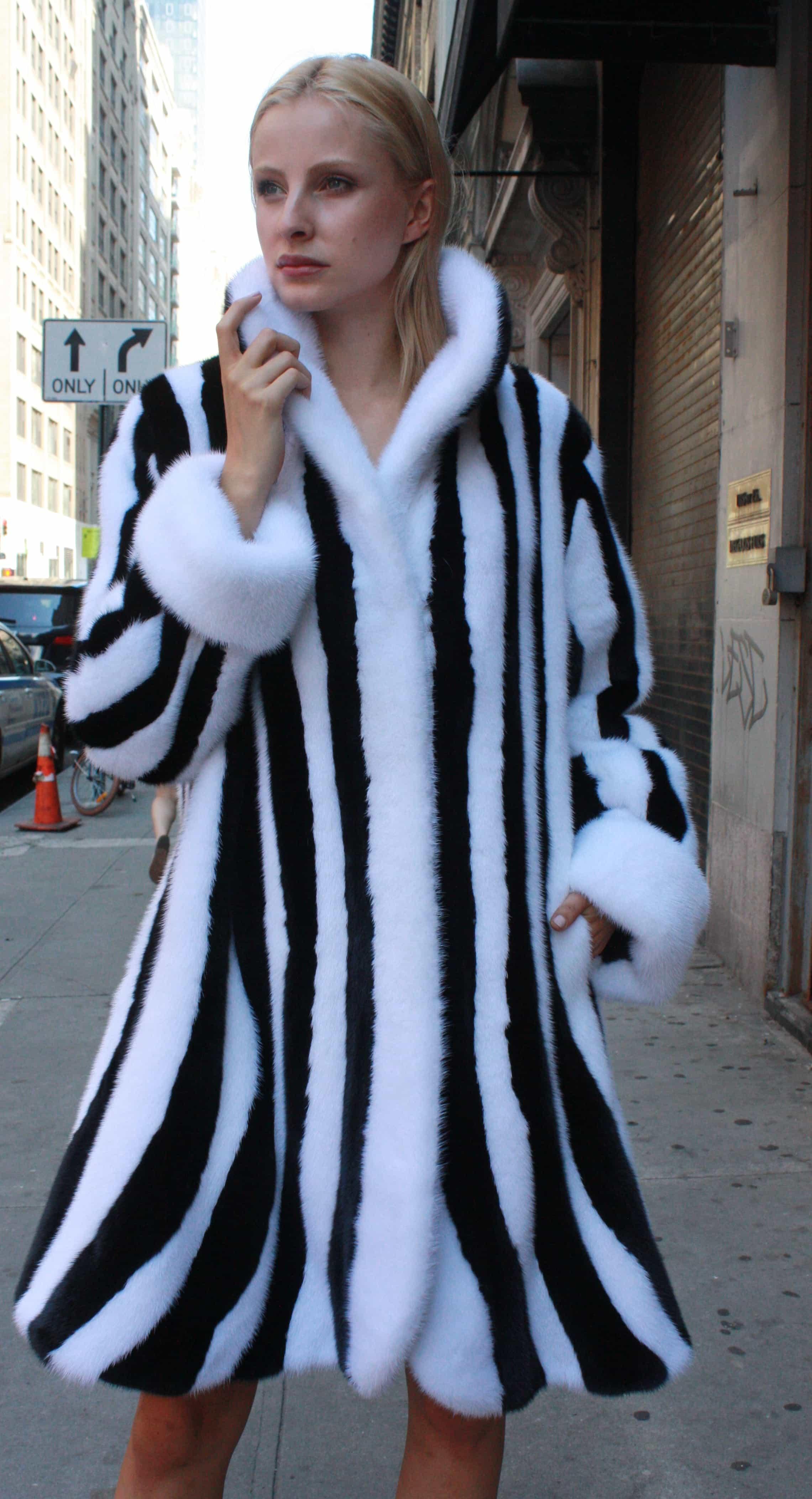 Black White Mink Fur Stroller