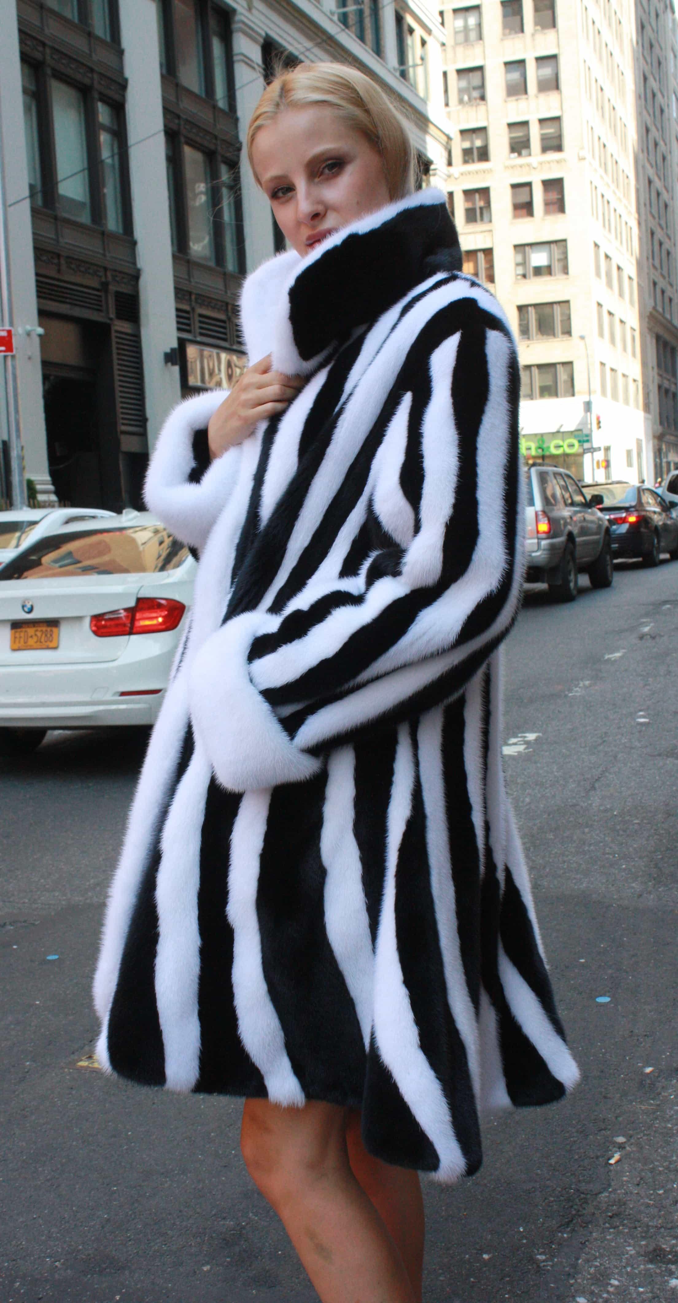 Black White Mink Fur Swing Stroller