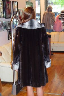 Marc Kaufman Furs presents a blackglama mink stroller with chinchilla fur collar and cuffs from Marc Kaufman Furs New York City,Fur coats in Argentina, fur coats in Chile, fur coats in Venezuela, fur coats in Australia, fur coats in Belgium,fur coats in Netherlands, fur coats in Norway,fur coats in Sweden,fur coats in Dubais,fur coats in Egypt,fur coats in Egypt,fur coats in Kuwait, fur coats in South Africa,fur coats in Tunisia,fur coats in the Falklands