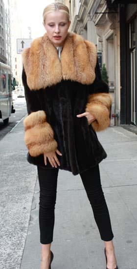 Blackglama Ranch Mink Stroller Red Fox Collar Red Fox Fur Cuffs 87654 Image