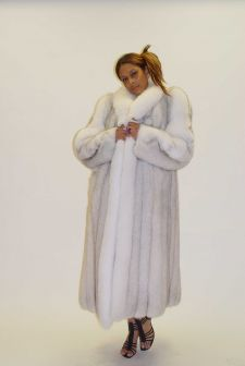 Marc Kaufman Furs Presents a blue fox fur coat with white fox fur trim from Marc Kaufman Furs New York,Argentina,United Kingdom,Austria,Denmark,Norway,Australia,Finland,Saudi Arabia,Oman,Kuwait,Jordan,Egypt