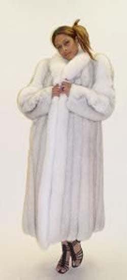 Marc Kaufman Furs Presents a blue fox fur coat with white fox fur trim from Marc Kaufman Furs New York,Argentina,United Kingdom,Austria,Denmark,Norway,Australia,Finland,Saudi Arabia,Oman,Kuwait,Jordan,Egypt