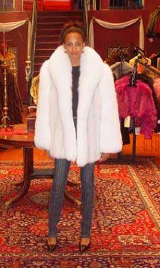 38c641603c Marc Kaufman Furs presents a blue fox fur jacket with white fox fur trim  from Marc
