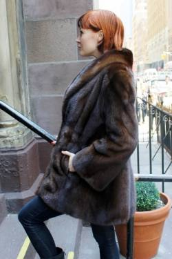 Specially designed Mahogany Brown Mink Fur Jacket Shawl Collar Bell Sleeves Back marc Kaufman Furs NYC Aspen Baltimore Washington Side