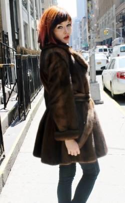 Mahogany Mink Fur Stroller Flared Belted 2344