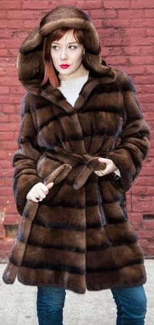 Sporty Brown Striped Mink Stroller With Hood and Belt Side Picture Ski Aspen