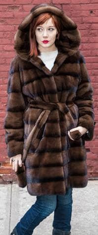 Brown Striped Mink Stroller With Hood and Belt 6655