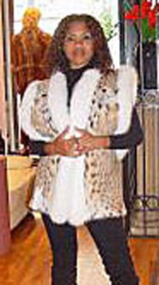 Cat Lynx Vest White Fox Fur Collar