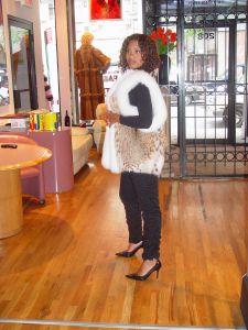 Cat Lynx Fur vest White Fox Fur Trim