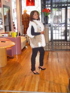 Cat Lynx Vest White Fox Fur Collar Marc Kaufman Furs