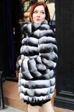 Marc Kaufman Furs presents a horizontal cut chinchilla fur stroller with stand up mandarin collar from Marc Kaufman Furs New York City,Fur coats in Argentina, fur coats in Chile, fur coats in Venezuela, fur coats in Australia, fur coats in Belgium,fur coats in Netherlands, fur coats in Norway,fur coats in Sweden,fur coats in Dubais,fur coats in Egypt,fur coats in Egypt,fur coats in Kuwait, fur coats in South Africa,fur coats in Tunisia,fur coats in the Falklands