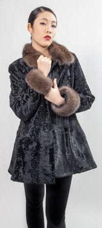 Black Swakara Russian Sable Collar Cuffs
