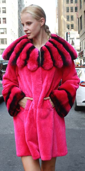 Marc Kaufman Furs presents a fuchsia rex rabbit fur stroller with matching chinchilla rex fur collar from Marc Kaufman Furs USA,Fur coats in Argentina, fur coats in Chile, fur coats in Venezuela, fur coats in Australia, fur coats in Belgium,fur coats in Netherlands, fur coats in Norway,fur coats in Sweden,fur coats in Dubais,fur coats in Egypt,fur coats in Egypt,fur coats in Kuwait, fur coats in South Africa,fur coats in Tunisia,fur coats in the Falklands