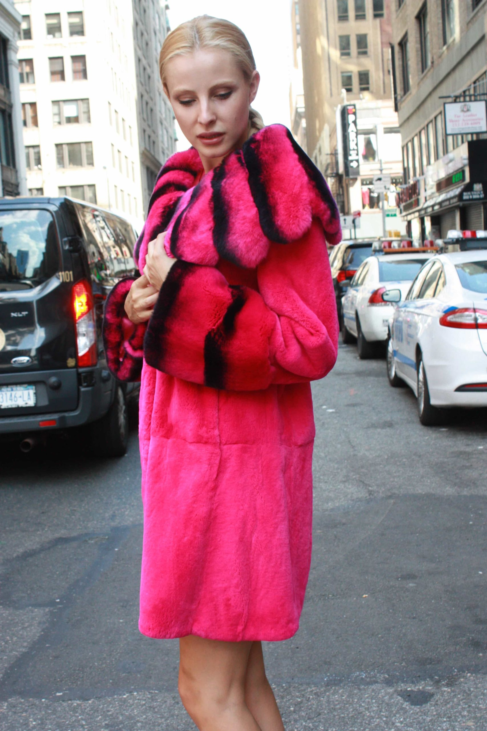 Marc Kaufman Furs presents a fuchsia rex rabbit fur stroller with matching chinchilla rex fur collar from Marc Kaufman Furs USA,Fur coats in Argentina, fur coats in Chile, fur coats in Venezuela, fur coats in Australia, fur coats in Belgium,fur coats in Netherlands, fur coats in Norway,fur coats in Sweden,fur coats in Dubais,fur coats in Egypt,fur coats in Egypt,fur coats in Kuwait, fur coats in South Africa,fur coats in Tunisia,fur coats in the Falklands