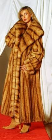 Full Length Canadian Golden Sable Fur Coat Large Shawl Collar Made in USA