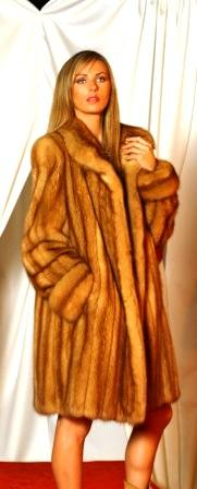 Casual Golden Russian Sable Fur Stroller 8855