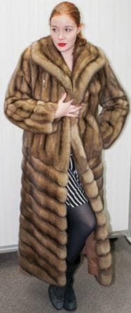 Full Length Golden Russian Sable Directional Coat 4477