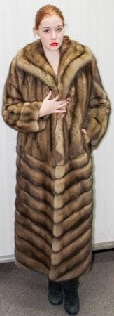 Stunning Golden Russian Sable Fur Coat Wing Collar Straight Sleeves Diagonal NYC Fur Store Dress Warm in NY