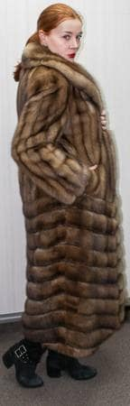 Stunning Golden Russian Sable Fur Coat Diagonal NYC Fur Store Dress Warm in NY