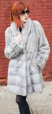 Gray Sapphire Mink Fur Stroller Horizontal Body
