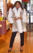 American Cat Lynx Fur Stroller White Fox Tim On Sleeves