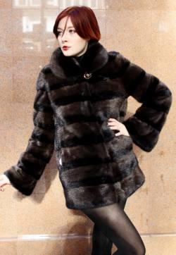 Two Tone Brown Black Mink Fur Jacket 9944