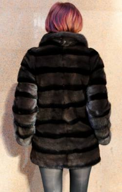 Two Tone Brown Black Mink Fur Jacket