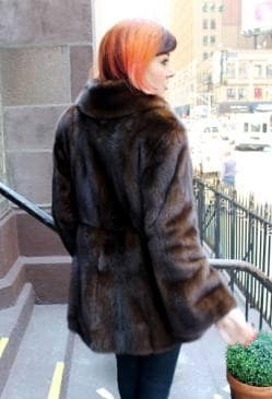 Specially designed Mahogany Brown Mink Fur Jacket Shawl Collar Bell Sleeves Back marc Kaufman Furs NYC Aspen Baltimore Washington
