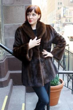 Specially designed Mahogany Brown Mink Fur Jacket Shawl Collar Bell Sleeves