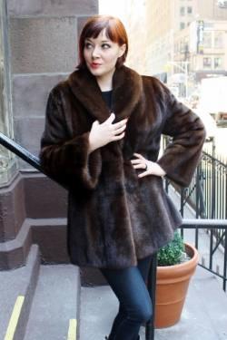 Specially designed Mahogany Brown Mink Fur Jacket Shawl Collar Bell Sleeves