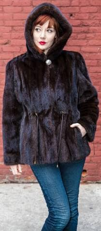Dark Brown Mahogany Hooded Mink Fur Jackets shaped Drawstring Waist