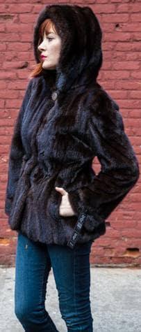 Dark Brown Mahogany Hooded Mink Fur Jackets Drawstring Waist