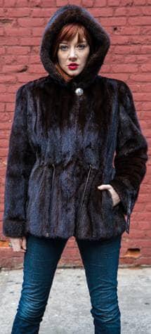Mahogany Mink fur Jacket Detachable Mink Fur Hood