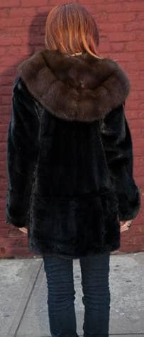 Classic Blackglama Ranch Mink Fur Stroller Russian Sable Fur Lined Hood