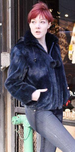 Navy Blue Mink FurBomber Jacket Detachable Fur Hood ny