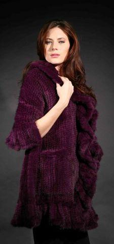 Marc Kaufman Furs Presents a purple knit mink fur cape with ruffled border from Marc Kaufman Furs New York,Argentina,United Kingdom,Austria,Denmark,Norway,Australia,Finland,Saudi Arabia,Oman,Kuwait,Jordan,Egypt