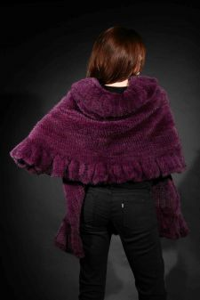 Marc Kaufman Furs Presents a purple knit mink fur cape with ruffled border from Marc Kaufman Furs New York,Argentina,United Kingdom,Austria,Denmark,Norway,Australia,Finland,Saudi Arabia,Oman,Kuwait,Jordan,Egypt