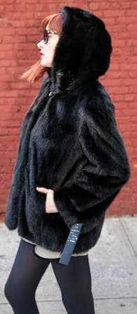 Black Ranch Hooded Mink Fur Jacket NYC