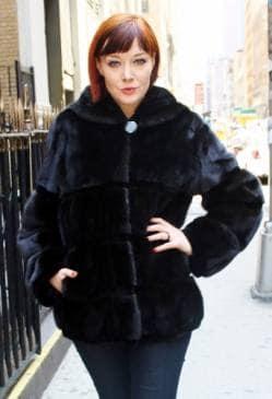 Hooded Black Ranch Mink Fur Jacket Horizontal