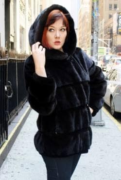 Hooded Black Ranch Mink Jacket Horizontal