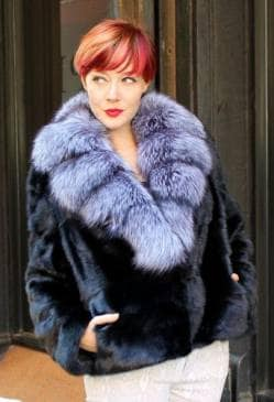 Ranch Mink Jacket Silver Fox Fur Shawl Collar